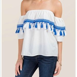 Francesca's off the shoulder tassel blouse